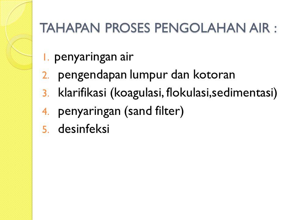 TAHAPAN PROSES PENGOLAHAN AIR : 1. penyaringan air 2. pengendapan lumpur dan kotoran 3. klarifikasi (koagulasi, flokulasi,sedimentasi) 4. penyaringan