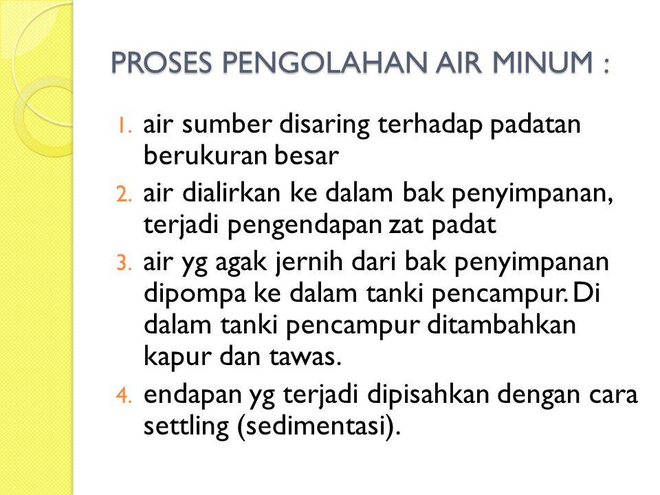 PROSES PENGOLAHAN AIR MINUM : 1. air sumber disaring terhadap padatan berukuran besar 2. air dialirkan ke dalam bak penyimpanan, terjadi pengendapan z