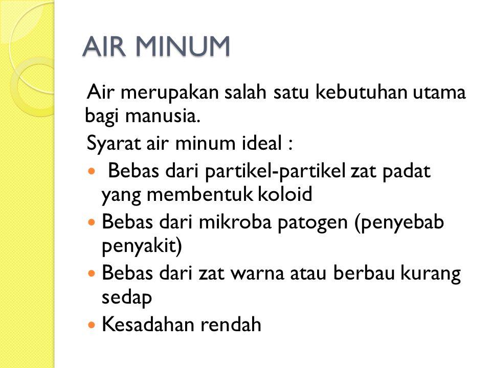 AIR MINUM Air merupakan salah satu kebutuhan utama bagi manusia. Syarat air minum ideal : Bebas dari partikel-partikel zat padat yang membentuk koloid