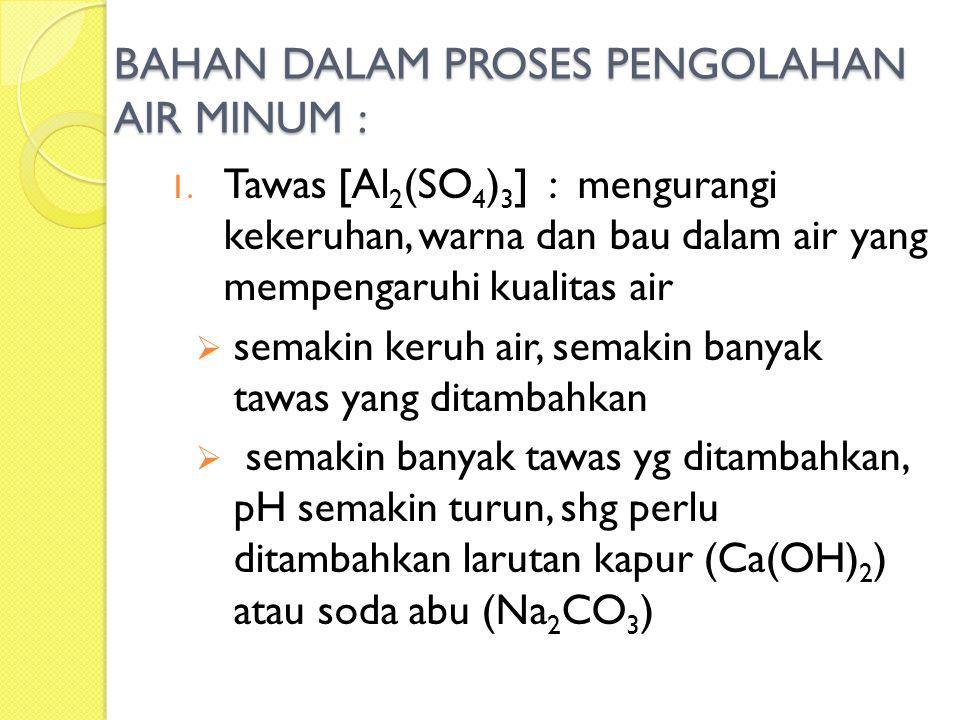 BAHAN DALAM PROSES PENGOLAHAN AIR MINUM : 1. Tawas [Al 2 (SO 4 ) 3 ] : mengurangi kekeruhan, warna dan bau dalam air yang mempengaruhi kualitas air 