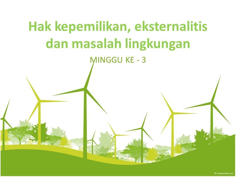 Hak kepemilikan, eksternalitis dan masalah lingkungan MINGGU KE - 3