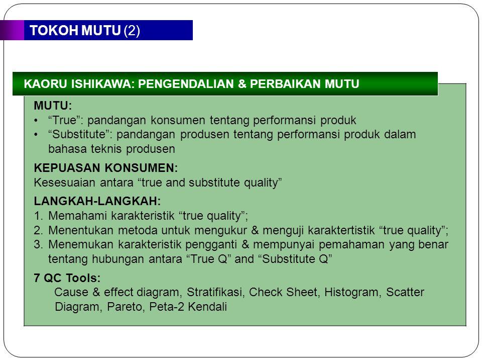 """TOKOH MUTU (2) MUTU: """"True"""": pandangan konsumen tentang performansi produk """"Substitute"""": pandangan produsen tentang performansi produk dalam bahasa te"""