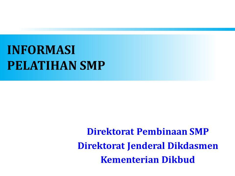 INFORMASI PELATIHAN SMP Direktorat Pembinaan SMP Direktorat Jenderal Dikdasmen Kementerian Dikbud