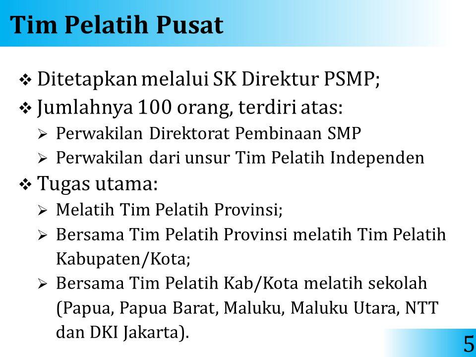 Tim Pelatih Pusat  Ditetapkan melalui SK Direktur PSMP;  Jumlahnya 100 orang, terdiri atas:  Perwakilan Direktorat Pembinaan SMP  Perwakilan dari