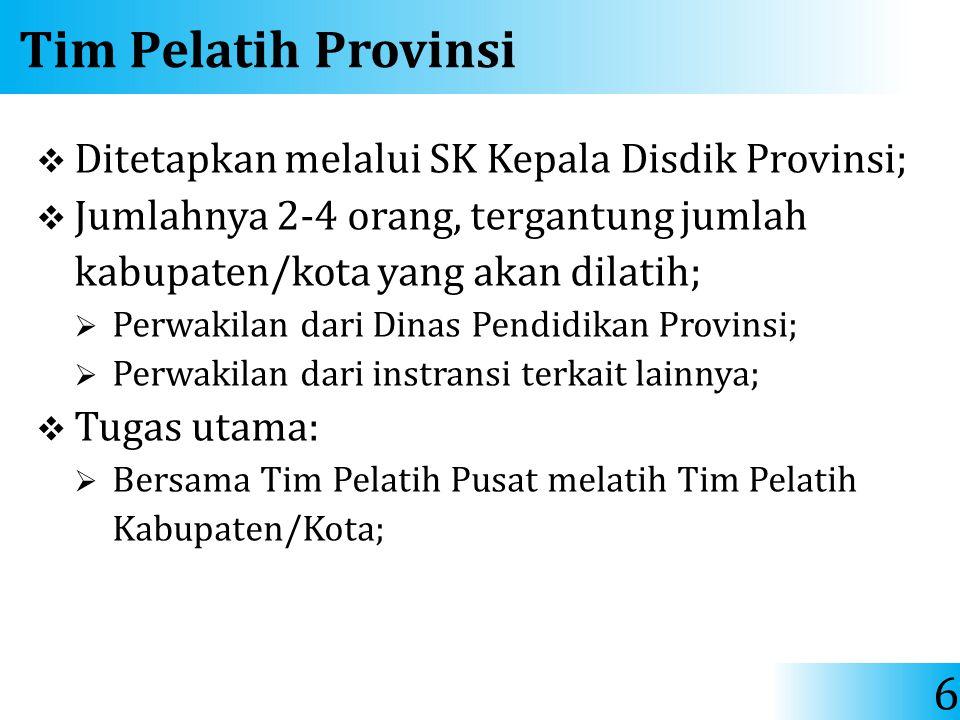 Tim Pelatih Provinsi  Ditetapkan melalui SK Kepala Disdik Provinsi;  Jumlahnya 2-4 orang, tergantung jumlah kabupaten/kota yang akan dilatih;  Perw
