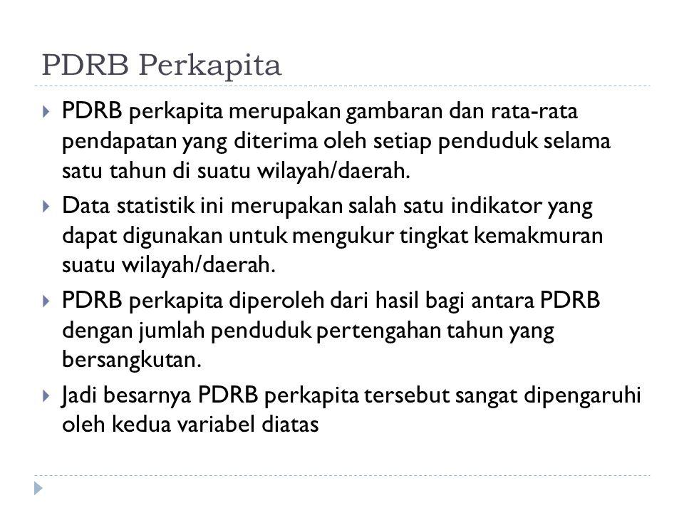 PDRB Perkapita  PDRB perkapita merupakan gambaran dan rata-rata pendapatan yang diterima oleh setiap penduduk selama satu tahun di suatu wilayah/daerah.