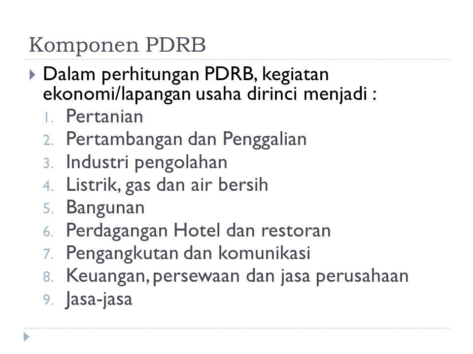 Komponen PDRB  Dalam perhitungan PDRB, kegiatan ekonomi/lapangan usaha dirinci menjadi : 1.