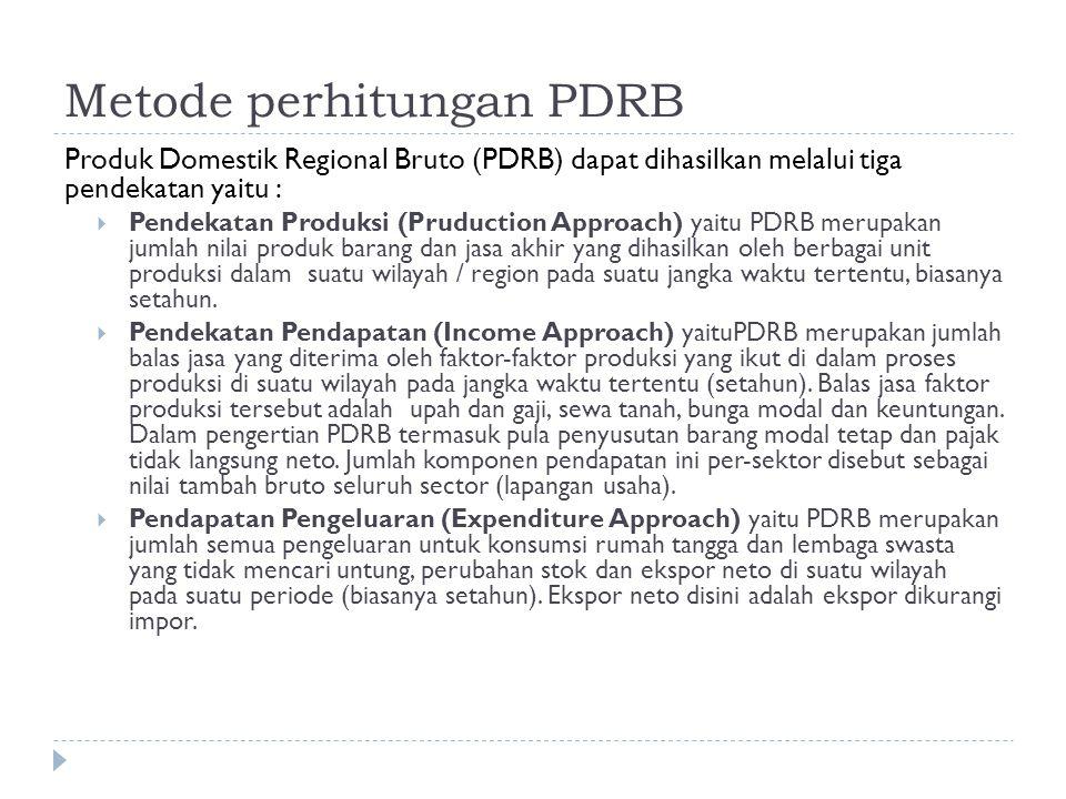 Metode perhitungan PDRB Produk Domestik Regional Bruto (PDRB) dapat dihasilkan melalui tiga pendekatan yaitu :  Pendekatan Produksi (Pruduction Approach) yaitu PDRB merupakan jumlah nilai produk barang dan jasa akhir yang dihasilkan oleh berbagai unit produksi dalam suatu wilayah / region pada suatu jangka waktu tertentu, biasanya setahun.