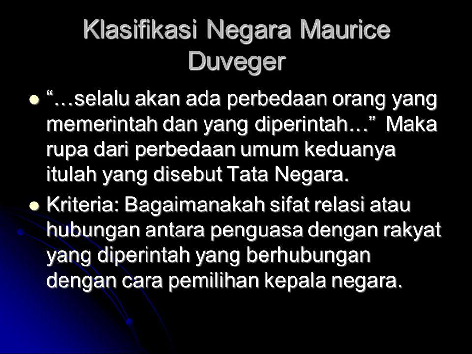 Klasifikasi Negara Maurice Duveger …selalu akan ada perbedaan orang yang memerintah dan yang diperintah… Maka rupa dari perbedaan umum keduanya itulah yang disebut Tata Negara.