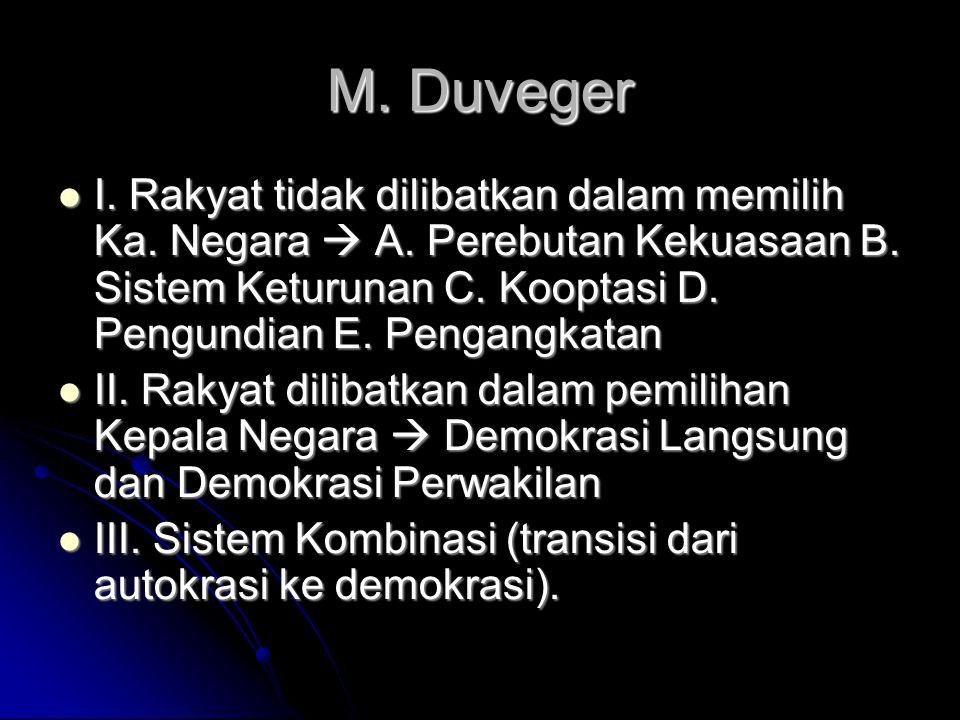 M. Duveger I. Rakyat tidak dilibatkan dalam memilih Ka. Negara  A. Perebutan Kekuasaan B. Sistem Keturunan C. Kooptasi D. Pengundian E. Pengangkatan