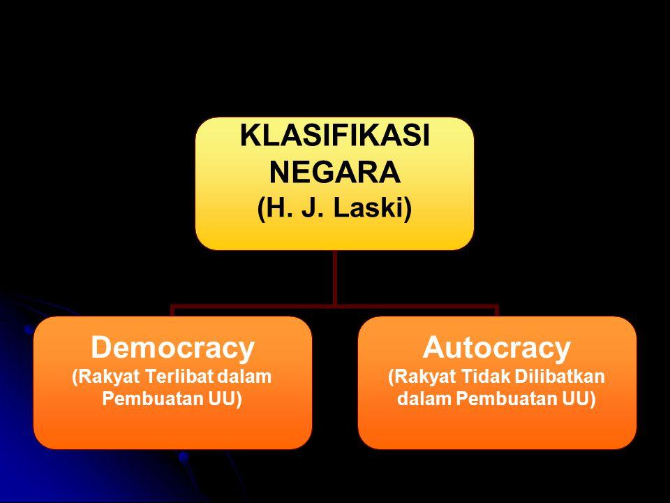 KLASIFIKASI NEGARA (H. J. Laski) Democracy (Rakyat Terlibat dalam Pembuatan UU) Autocracy (Rakyat Tidak Dilibatkan dalam Pembuatan UU)