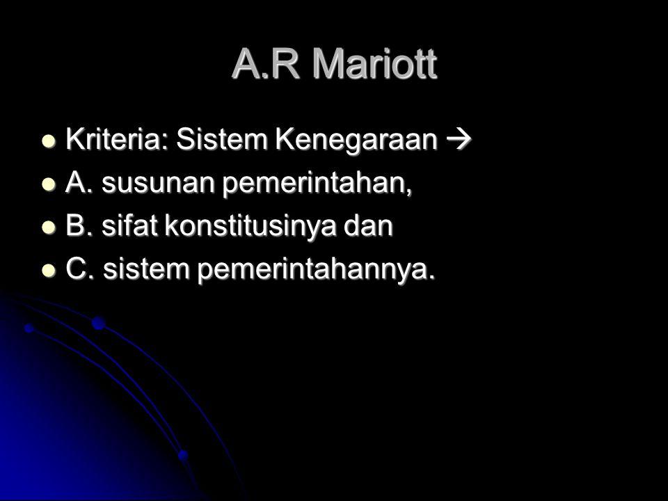 A.R Mariott Kriteria: Sistem Kenegaraan  Kriteria: Sistem Kenegaraan  A. susunan pemerintahan, A. susunan pemerintahan, B. sifat konstitusinya dan B