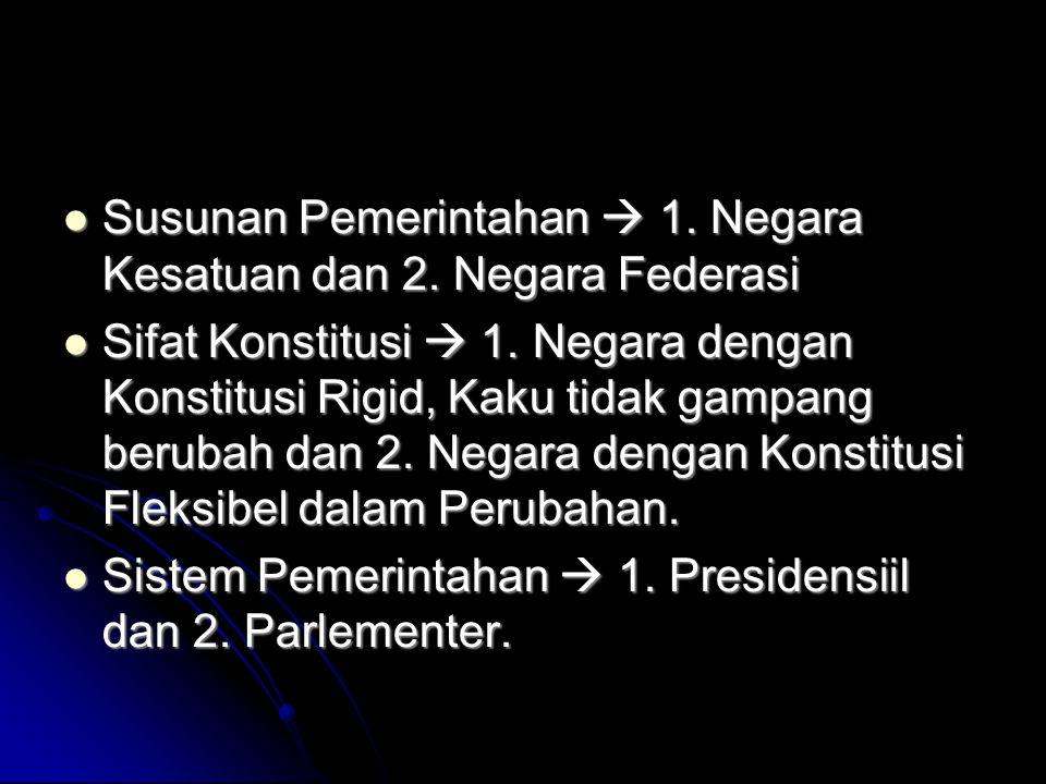 Susunan Pemerintahan  1. Negara Kesatuan dan 2. Negara Federasi Susunan Pemerintahan  1. Negara Kesatuan dan 2. Negara Federasi Sifat Konstitusi  1