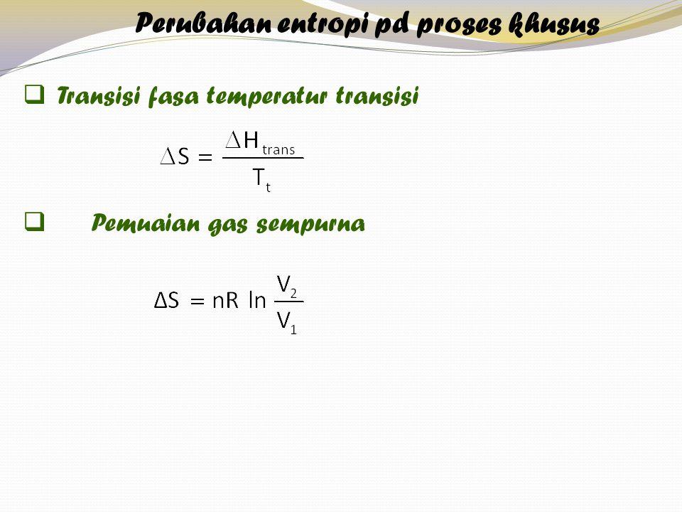  Transisi fasa temperatur transisi  Pemuaian gas sempurna Perubahan entropi pd proses khusus
