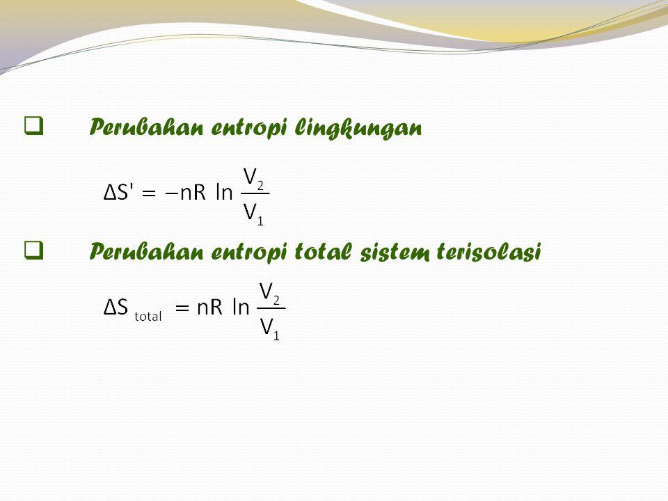  Perubahan entropi lingkungan  Perubahan entropi total sistem terisolasi Perubahan entropi pd proses khusus