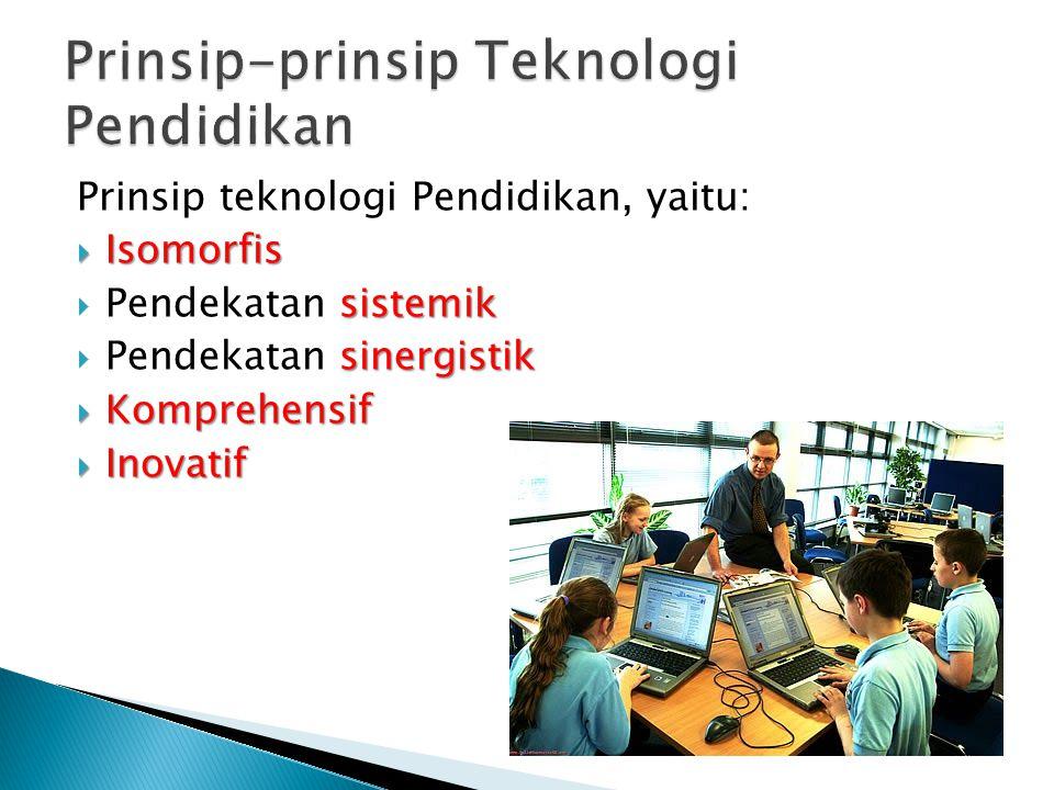 Prinsip teknologi Pendidikan, yaitu:  Isomorfis sistemik  Pendekatan sistemik sinergistik  Pendekatan sinergistik  Komprehensif  Inovatif
