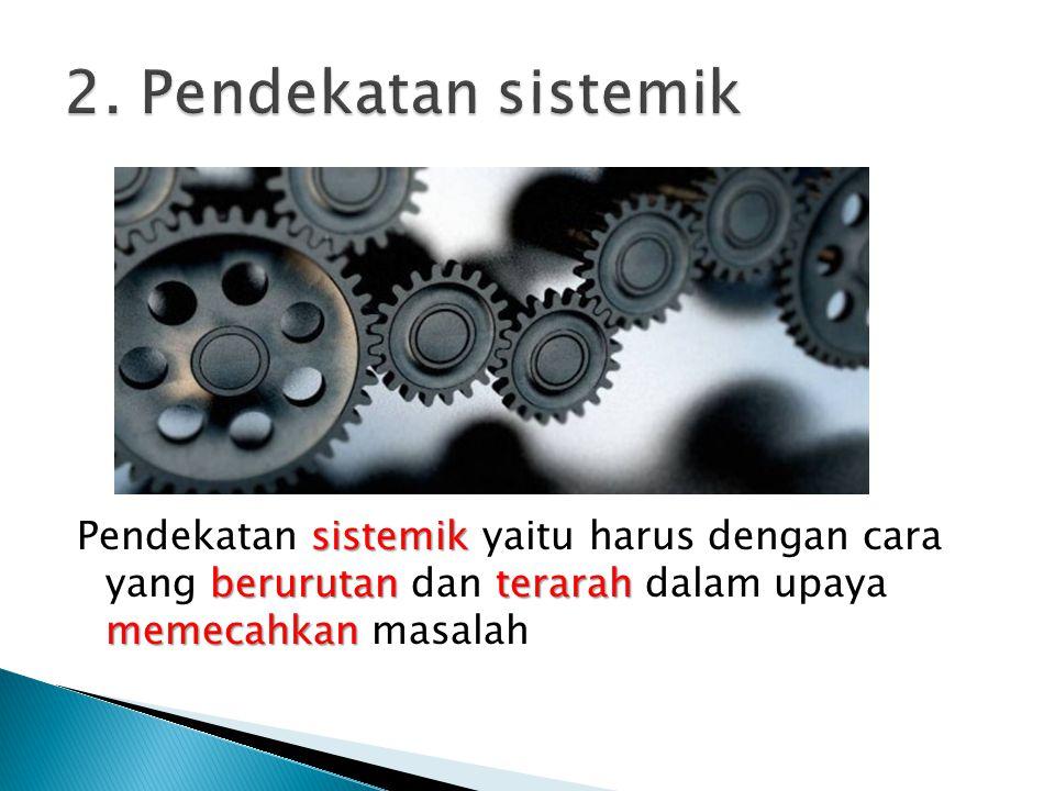 sistemik berurutanterarah memecahkan Pendekatan sistemik yaitu harus dengan cara yang berurutan dan terarah dalam upaya memecahkan masalah
