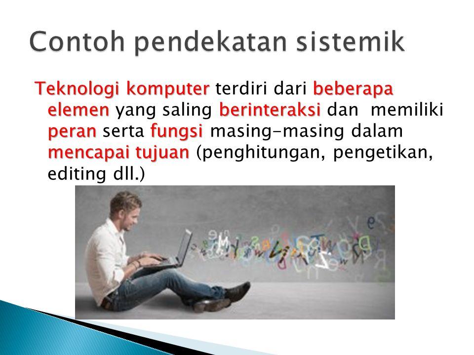 Teknologi komputer beberapa elemen berinteraksi peran fungsi mencapai tujuan Teknologi komputer terdiri dari beberapa elemen yang saling berinteraksi