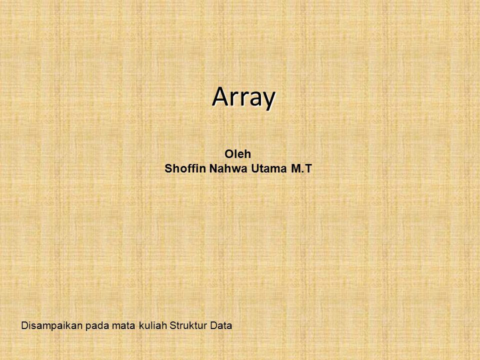 Array Oleh Shoffin Nahwa Utama M.T Disampaikan pada mata kuliah Struktur Data