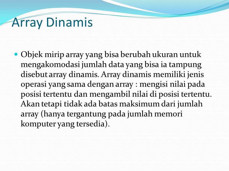 Array Dinamis Objek mirip array yang bisa berubah ukuran untuk mengakomodasi jumlah data yang bisa ia tampung disebut array dinamis.
