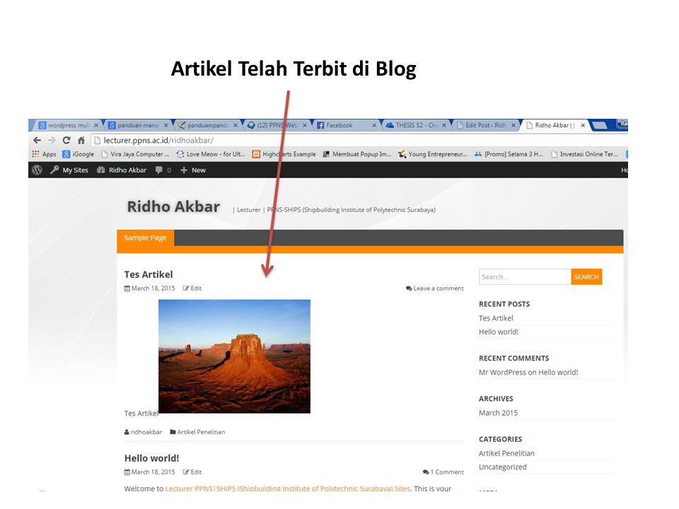 Artikel Telah Terbit di Blog