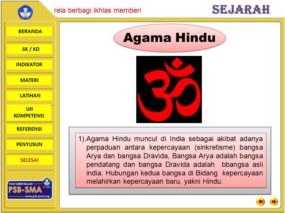 BERANDA SK / KD INDIKATORSejarah rela berbagi ikhlas memberi MATERI LATIHAN UJI KOMPETENSI REFERENSI PENYUSUN SELESAI Agama Hindu 1).Agama Hindu muncu