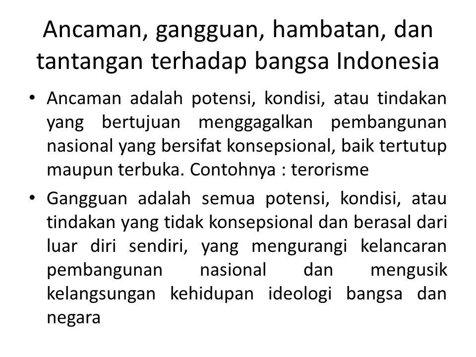 Ancaman, gangguan, hambatan, dan tantangan terhadap bangsa Indonesia Ancaman adalah potensi, kondisi, atau tindakan yang bertujuan menggagalkan pembangunan nasional yang bersifat konsepsional, baik tertutup maupun terbuka.
