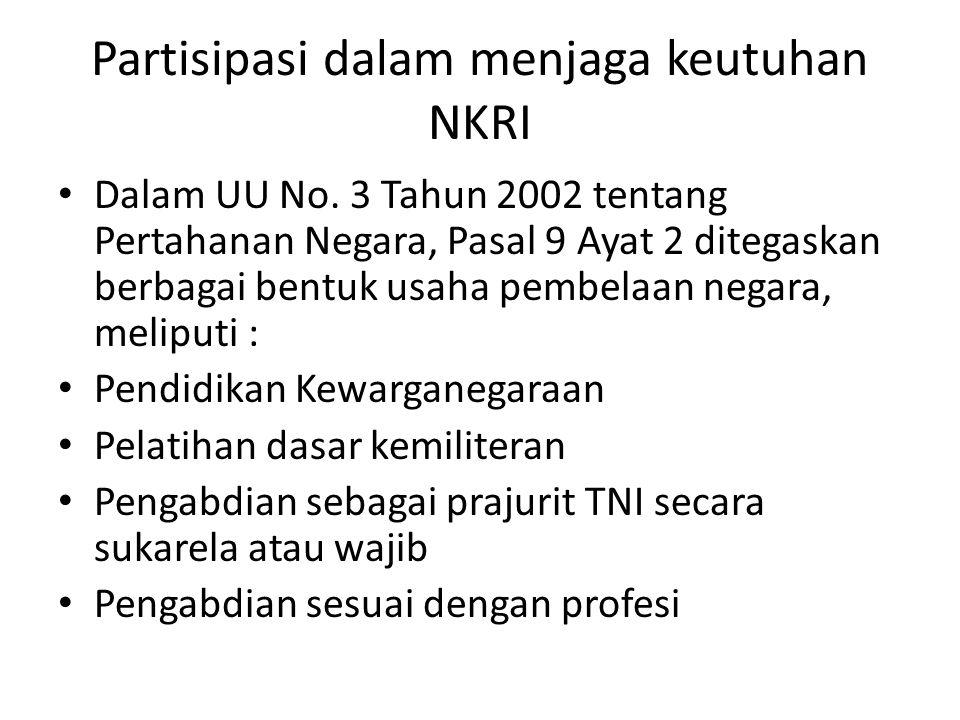 Partisipasi dalam menjaga keutuhan NKRI Dalam UU No.