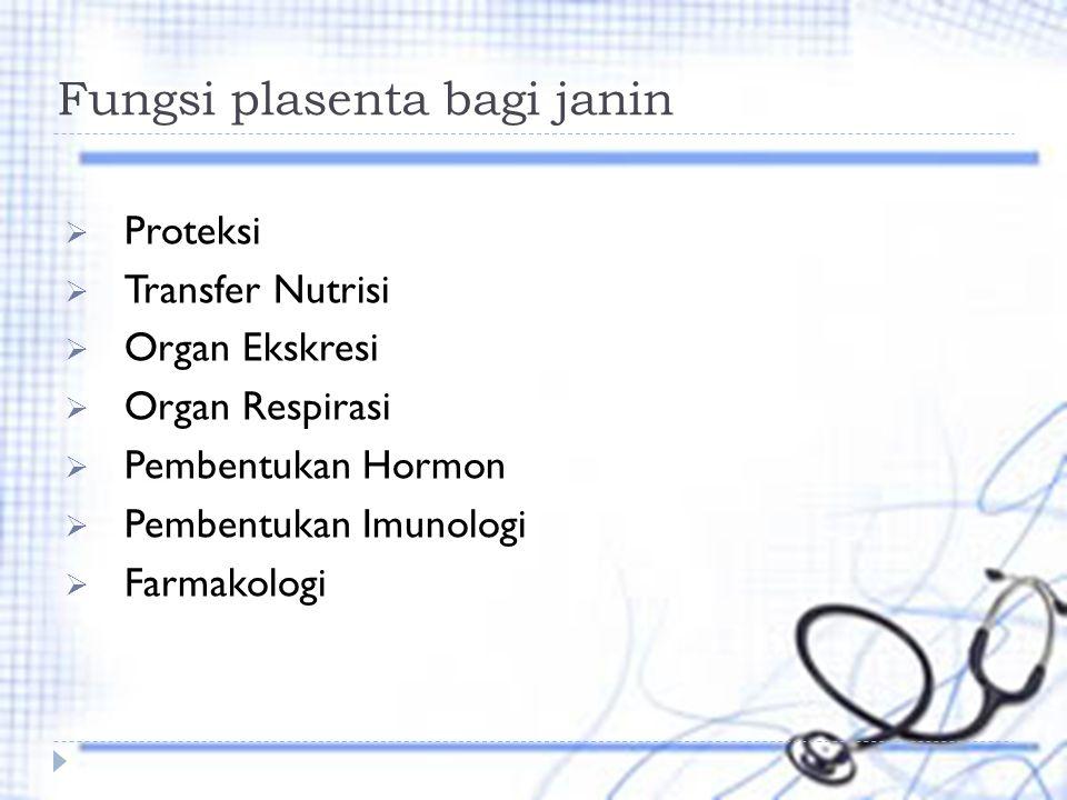 Fungsi plasenta bagi janin  Proteksi  Transfer Nutrisi  Organ Ekskresi  Organ Respirasi  Pembentukan Hormon  Pembentukan Imunologi  Farmakologi