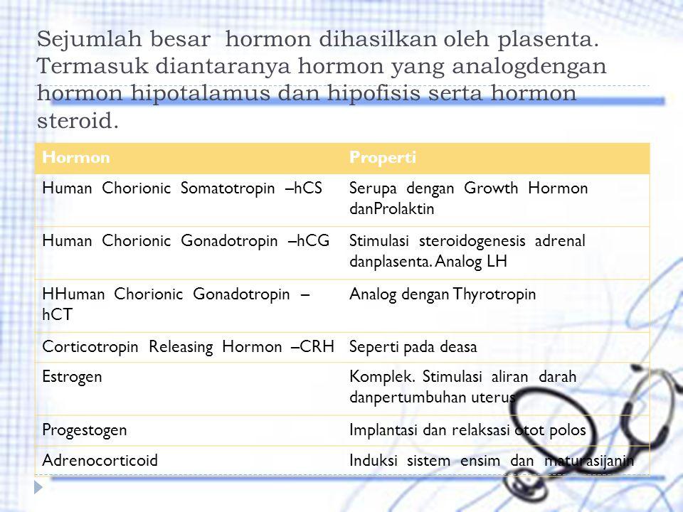 Sejumlah besar hormon dihasilkan oleh plasenta. Termasuk diantaranya hormon yang analogdengan hormon hipotalamus dan hipofisis serta hormon steroid. H