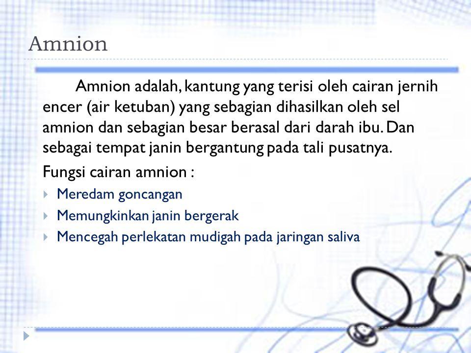 Amnion Amnion adalah, kantung yang terisi oleh cairan jernih encer (air ketuban) yang sebagian dihasilkan oleh sel amnion dan sebagian besar berasal dari darah ibu.