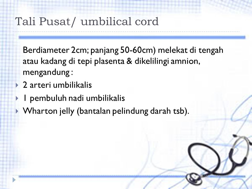 Tali Pusat/ umbilical cord Berdiameter 2cm; panjang 50-60cm) melekat di tengah atau kadang di tepi plasenta & dikelilingi amnion, mengandung :  2 arteri umbilikalis  1 pembuluh nadi umbilikalis  Wharton jelly (bantalan pelindung darah tsb).