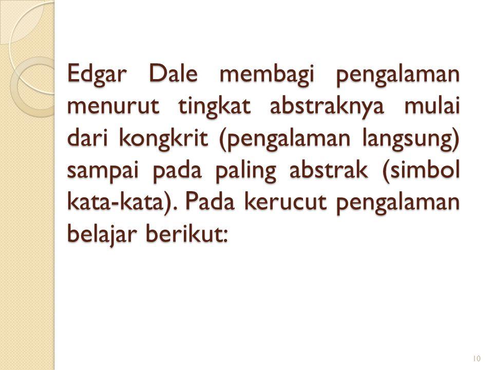 Edgar Dale membagi pengalaman menurut tingkat abstraknya mulai dari kongkrit (pengalaman langsung) sampai pada paling abstrak (simbol kata-kata). Pada