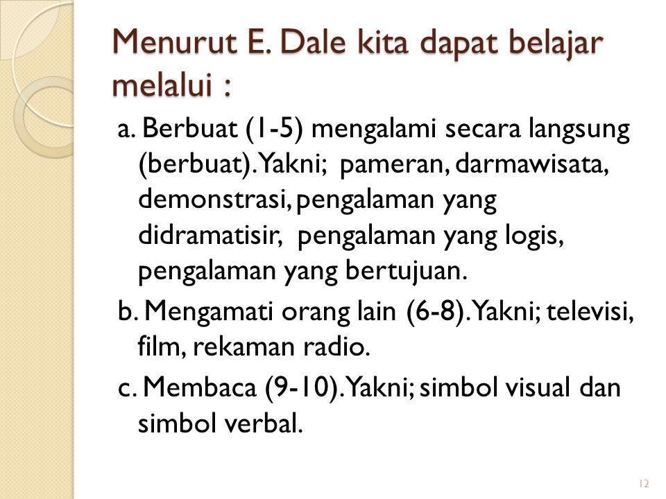 Menurut E. Dale kita dapat belajar melalui : a. Berbuat (1-5) mengalami secara langsung (berbuat). Yakni; pameran, darmawisata, demonstrasi, pengalama
