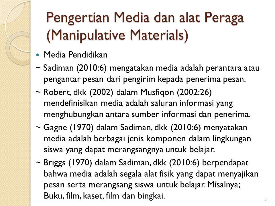 Pengertian Media dan alat Peraga (Manipulative Materials) Media Pendidikan ~ Sadiman (2010:6) mengatakan media adalah perantara atau pengantar pesan d
