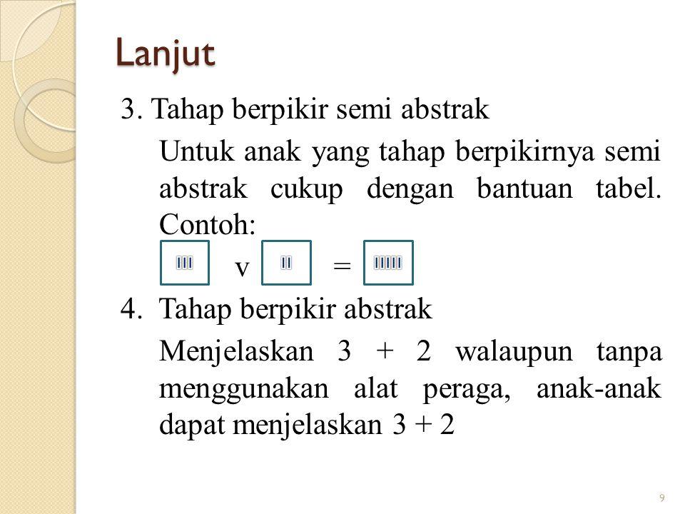 Lanjut 3. Tahap berpikir semi abstrak Untuk anak yang tahap berpikirnya semi abstrak cukup dengan bantuan tabel. Contoh: v = 4. Tahap berpikir abstrak