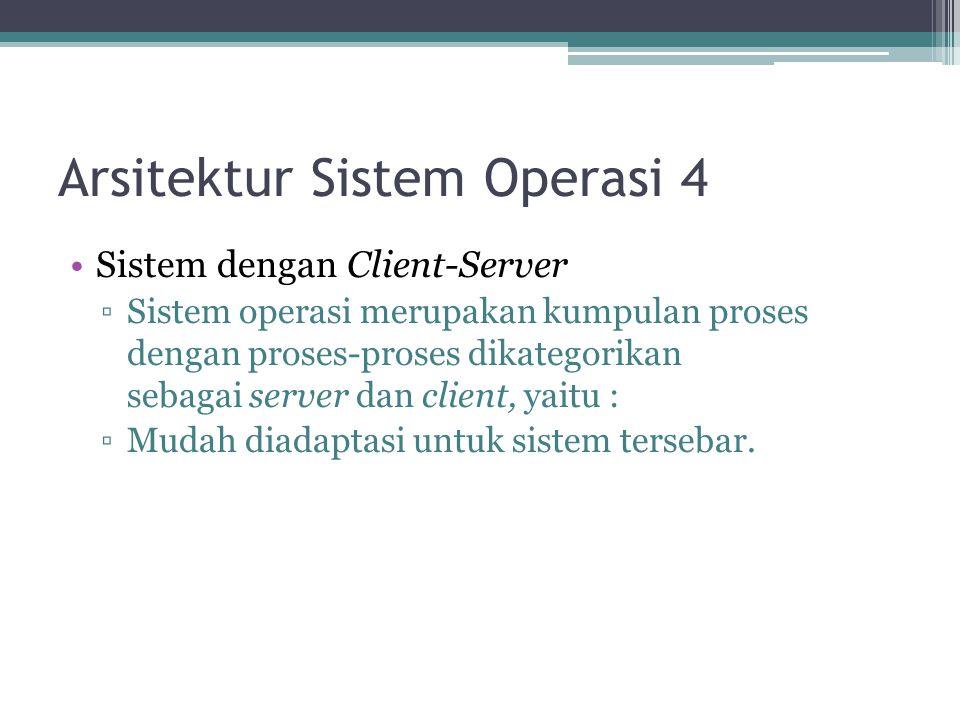 Arsitektur Sistem Operasi 4 Sistem dengan Client-Server ▫Sistem operasi merupakan kumpulan proses dengan proses-proses dikategorikan sebagai server da