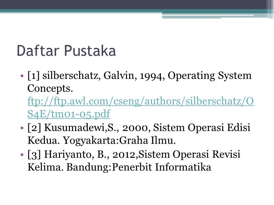 Daftar Pustaka [1] silberschatz, Galvin, 1994, Operating System Concepts. ftp://ftp.awl.com/cseng/authors/silberschatz/O S4E/tm01-05.pdf ftp://ftp.awl