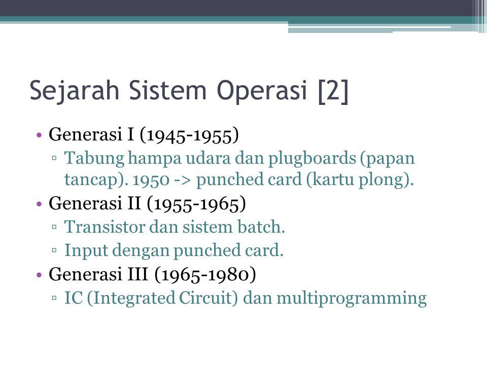 Sejarah Sistem Operasi [2] Generasi I (1945-1955) ▫Tabung hampa udara dan plugboards (papan tancap). 1950 -> punched card (kartu plong). Generasi II (