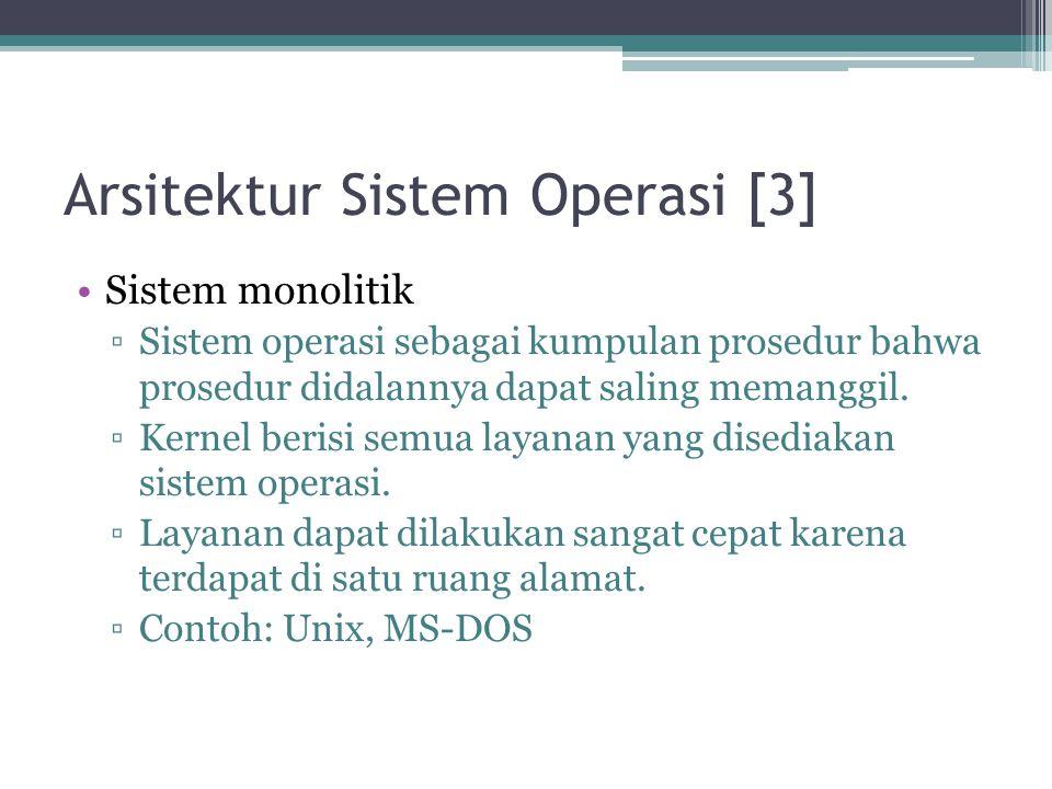 Arsitektur Sistem Operasi [3] Sistem monolitik ▫Sistem operasi sebagai kumpulan prosedur bahwa prosedur didalannya dapat saling memanggil. ▫Kernel ber