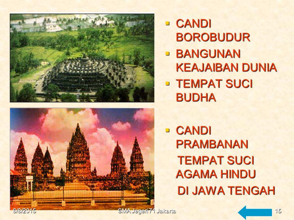 ZAMAN HINDU BUDHA  KOMPLEK CANDI DI JAWA TENGAH Berada disekeliling gunung merapi Berada disekeliling gunung merapi Candi candi Hindu dan Budha Candi candi Hindu dan Budha Dibuat masa dinasty Sanjaya dan Syailendra 6/8/201514SMA Jegeri 71 Jakarta