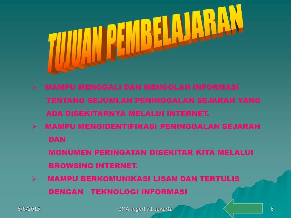 MENGIDENTIFIKASI PERISTIWA,PENINGGALAN SEJARAH MENGIDENTIFIKASI MONUMEN PERINGATAN PERISTIWA BERSEJARAH YANG ADA DI SEKITARNYA 6/8/20155 SMA Jegeri 71 Jakarta