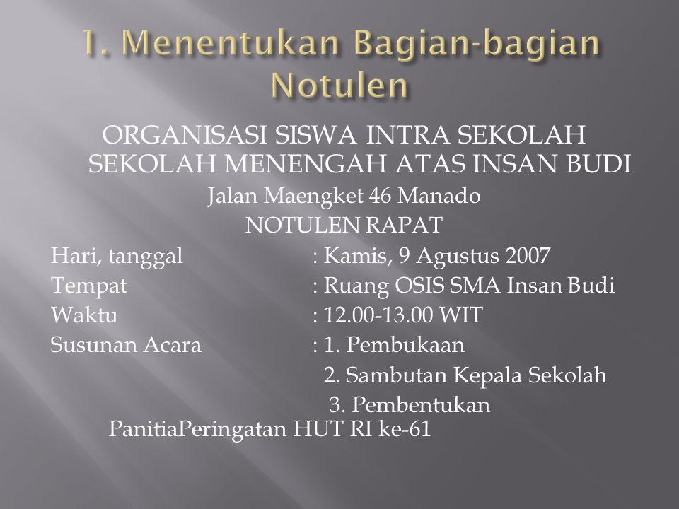 ORGANISASI SISWA INTRA SEKOLAH SEKOLAH MENENGAH ATAS INSAN BUDI Jalan Maengket 46 Manado NOTULEN RAPAT Hari, tanggal: Kamis, 9 Agustus 2007 Tempat: Ru