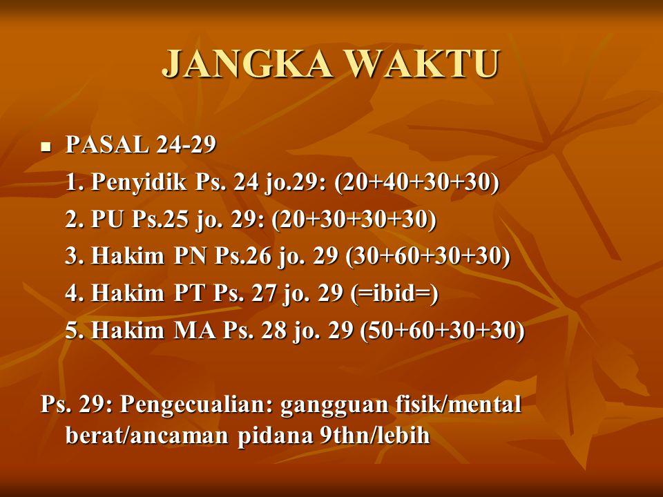 JANGKA WAKTU PASAL 24-29 PASAL 24-29 1. Penyidik Ps. 24 jo.29: (20+40+30+30) 2. PU Ps.25 jo. 29: (20+30+30+30) 3. Hakim PN Ps.26 jo. 29 (30+60+30+30)