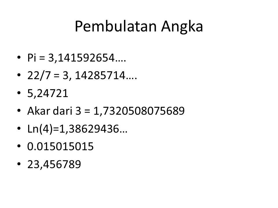 Pembulatan Angka Pi = 3,141592654…. 22/7 = 3, 14285714…. 5,24721 Akar dari 3 = 1,7320508075689 Ln(4)=1,38629436… 0.015015015 23,456789
