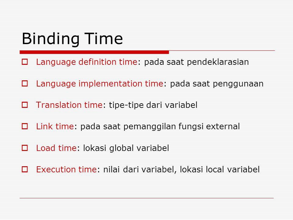 Binding Time  Language definition time: pada saat pendeklarasian  Language implementation time: pada saat penggunaan  Translation time: tipe-tipe dari variabel  Link time: pada saat pemanggilan fungsi external  Load time: lokasi global variabel  Execution time: nilai dari variabel, lokasi local variabel