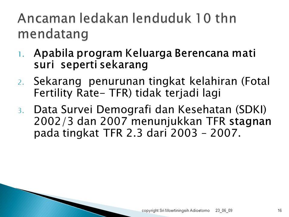 1. Apabila program Keluarga Berencana mati suri seperti sekarang 2. Sekarang penurunan tingkat kelahiran (Fotal Fertility Rate- TFR) tidak terjadi lag