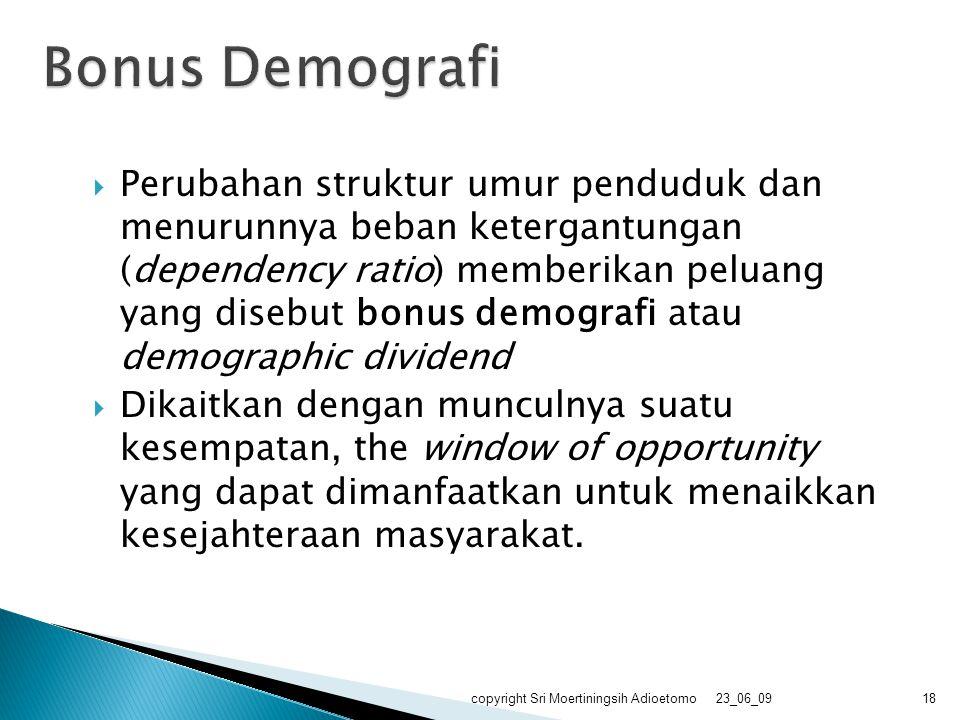 Perubahan struktur umur penduduk dan menurunnya beban ketergantungan (dependency ratio) memberikan peluang yang disebut bonus demografi atau demogra
