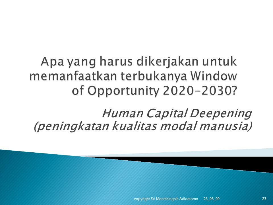 Human Capital Deepening (peningkatan kualitas modal manusia) 23_06_09 copyright Sri Moertiningsih Adioetomo 23
