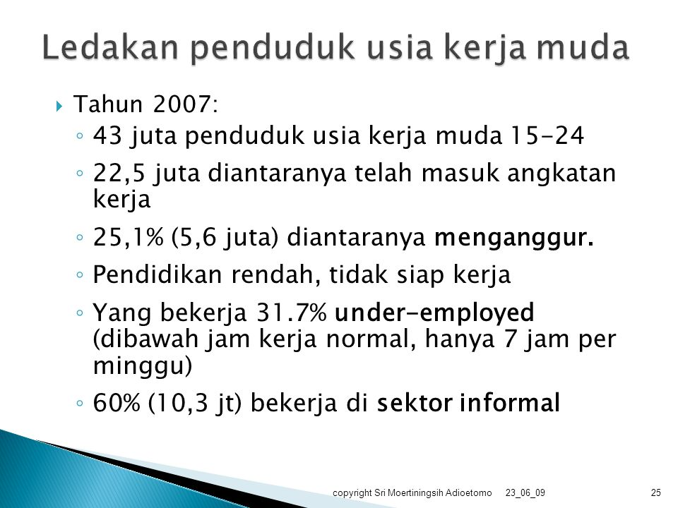  Tahun 2007: ◦ 43 juta penduduk usia kerja muda 15-24 ◦ 22,5 juta diantaranya telah masuk angkatan kerja ◦ 25,1% (5,6 juta) diantaranya menganggur. ◦